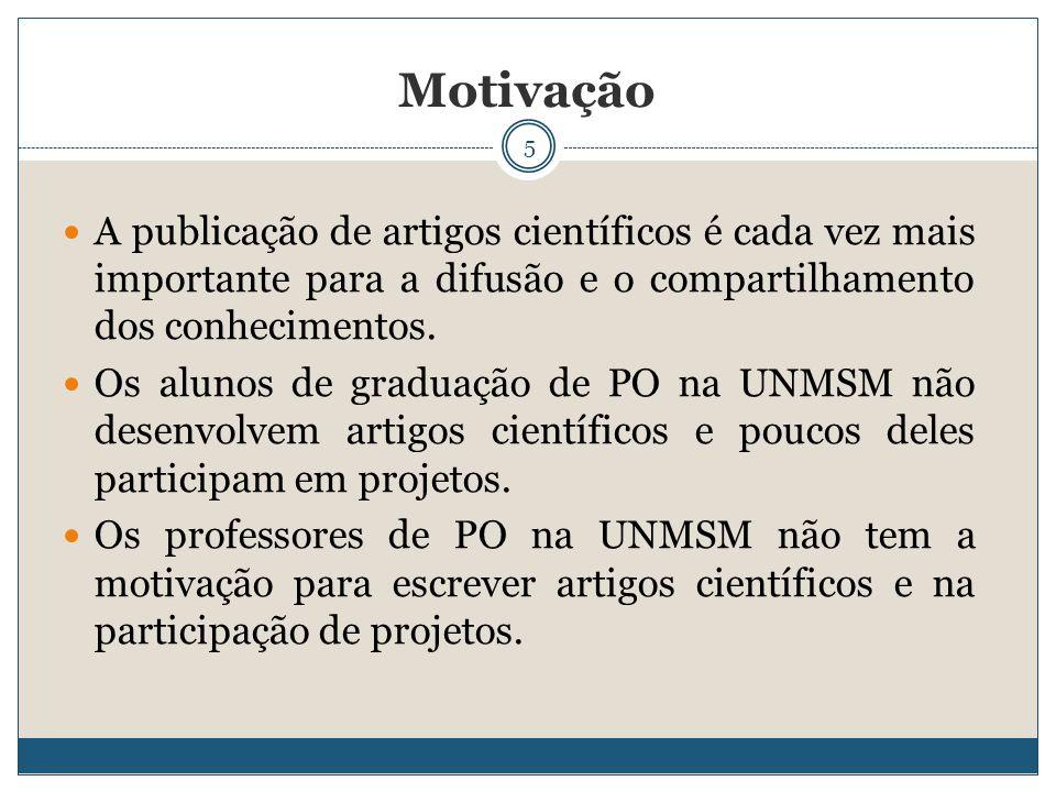 5 A publicação de artigos científicos é cada vez mais importante para a difusão e o compartilhamento dos conhecimentos. Os alunos de graduação de PO n