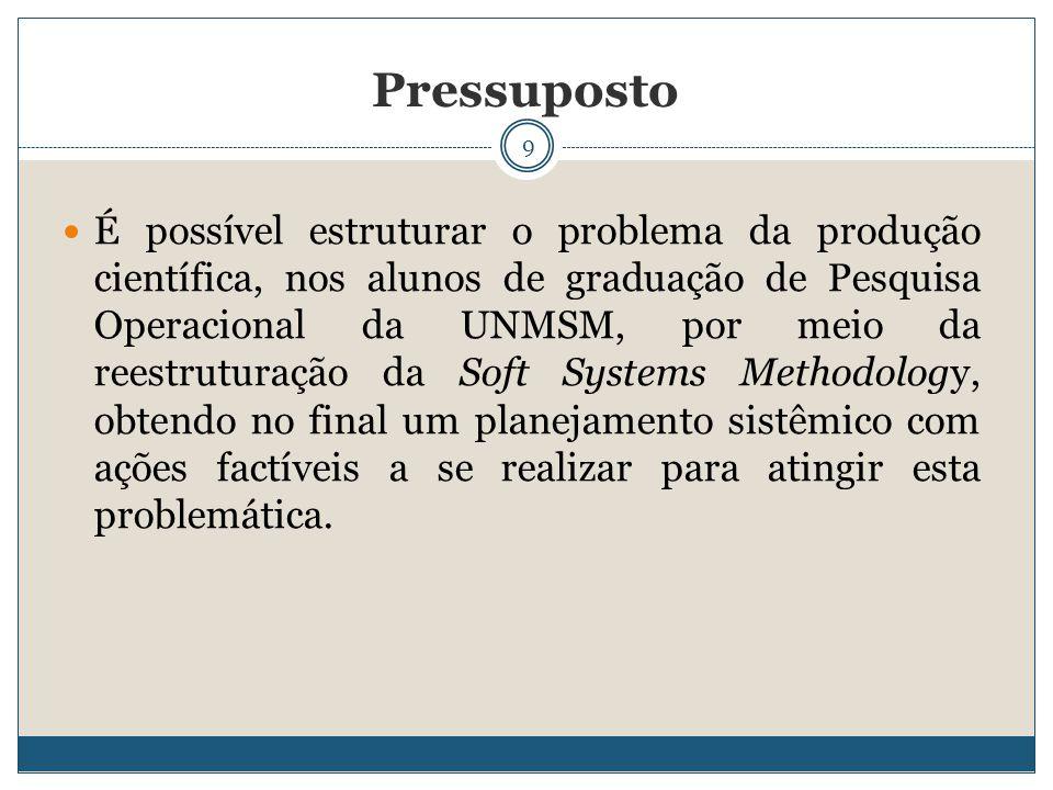 9 É possível estruturar o problema da produção científica, nos alunos de graduação de Pesquisa Operacional da UNMSM, por meio da reestruturação da Sof