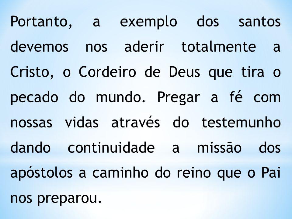 Portanto, a exemplo dos santos devemos nos aderir totalmente a Cristo, o Cordeiro de Deus que tira o pecado do mundo.