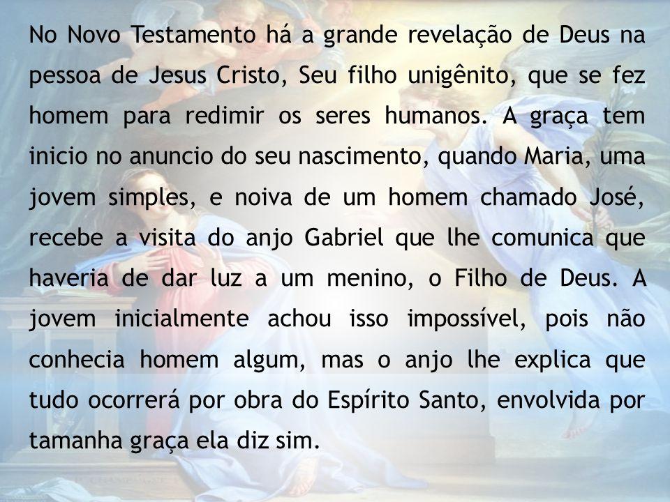 No Novo Testamento há a grande revelação de Deus na pessoa de Jesus Cristo, Seu filho unigênito, que se fez homem para redimir os seres humanos.
