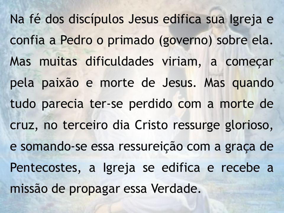 Na fé dos discípulos Jesus edifica sua Igreja e confia a Pedro o primado (governo) sobre ela.