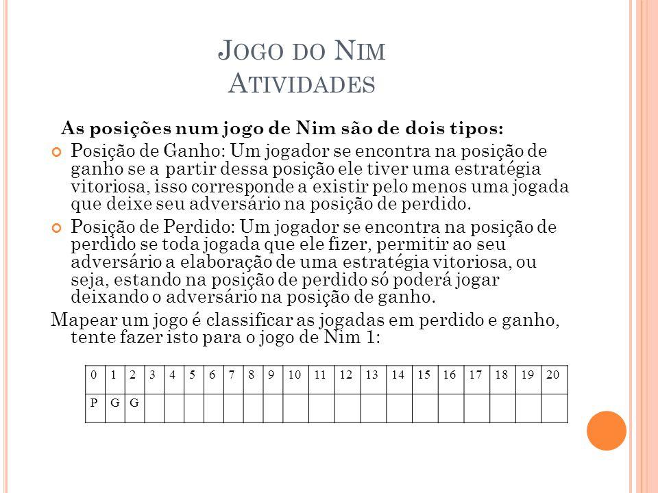 J OGO DO N IM A TIVIDADES As posições num jogo de Nim são de dois tipos: Posição de Ganho: Um jogador se encontra na posição de ganho se a partir dess