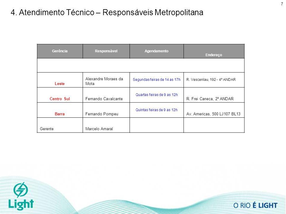 7 4. Atendimento Técnico – Responsáveis Metropolitana GerênciaResponsávelAgendamento Endereço Leste Alexandre Moraes da Mota Segundas feiras de 14 as