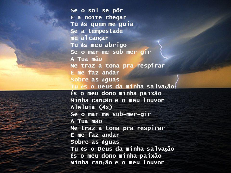 Se o sol se pôr E a noite chegar Tu é s quem me guia Se a tempestade me alcan ç ar Tu é s meu abrigo Se o mar me sub-mer-gir A Tua mão Me traz a tona pra respirar E me faz andar Sobre as á guas Tu é s o Deus da minha salva ç ão É s o meu dono minha paixão Minha can ç ão e o meu louvor Aleluia (4x) Se o mar me sub-mer-gir A Tua mão Me traz a tona pra respirar E me faz andar Sobre as á guas Tu é s o Deus da minha salva ç ão É s o meu dono minha paixão Minha can ç ão e o meu louvor