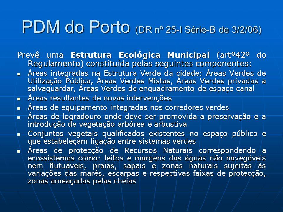 PDM do Porto (DR nº 25-I Série-B de 3/2/06) Prevê uma Estrutura Ecológica Municipal (artº42º do Regulamento) constituída pelas seguintes componentes: