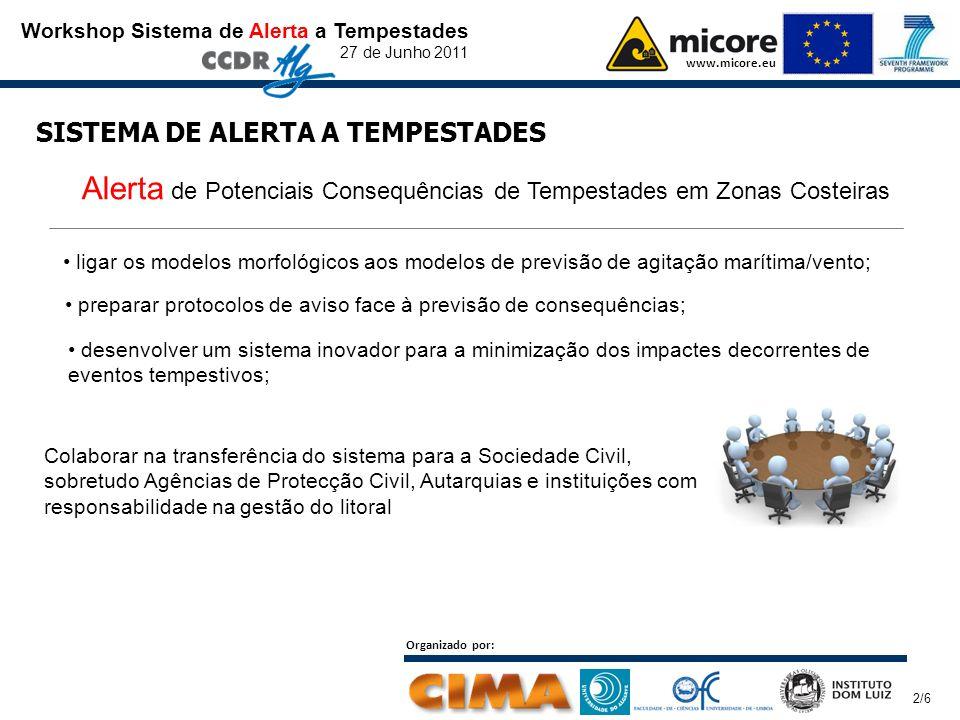 Workshop Sistema de Alerta a Tempestades 27 de Junho 2011 www.micore.eu Organizado por: 2/6 SISTEMA DE ALERTA A TEMPESTADES preparar protocolos de avi