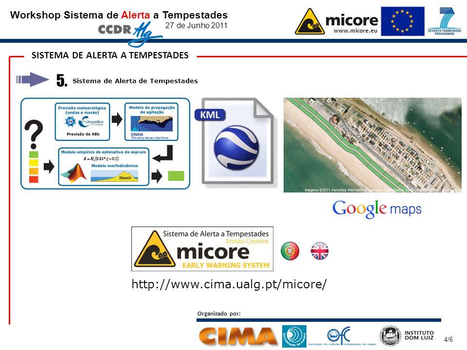 Workshop Sistema de Alerta a Tempestades 27 de Junho 2011 www.micore.eu Organizado por: 4/6 SISTEMA DE ALERTA A TEMPESTADES 5. Sistema de Alerta de Te
