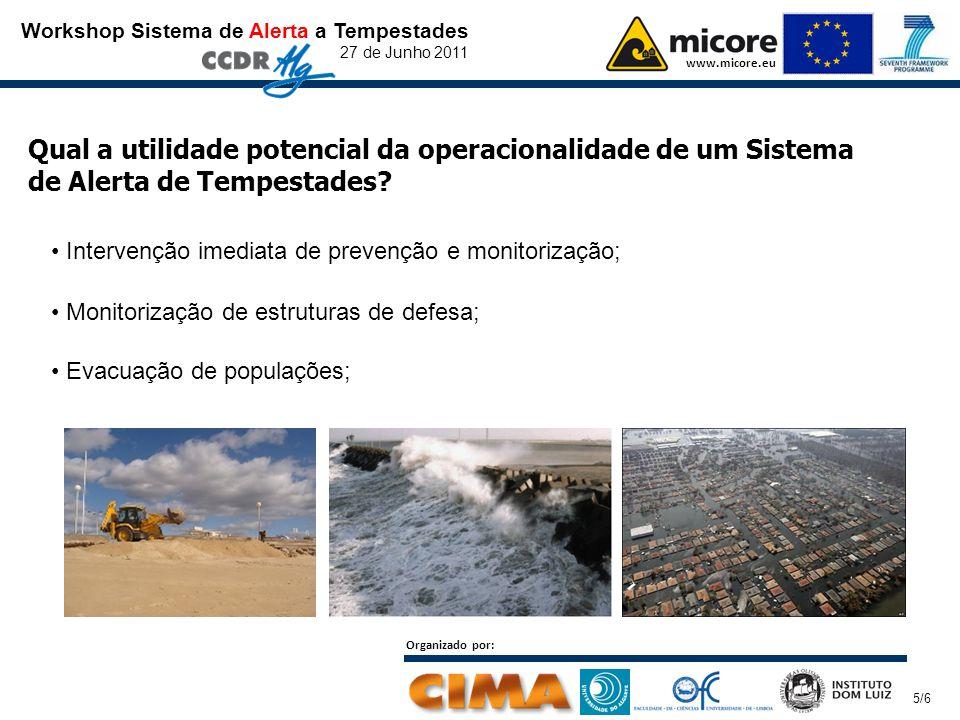Workshop Sistema de Alerta a Tempestades 27 de Junho 2011 www.micore.eu Organizado por: 5/6 Qual a utilidade potencial da operacionalidade de um Sistema de Alerta de Tempestades.