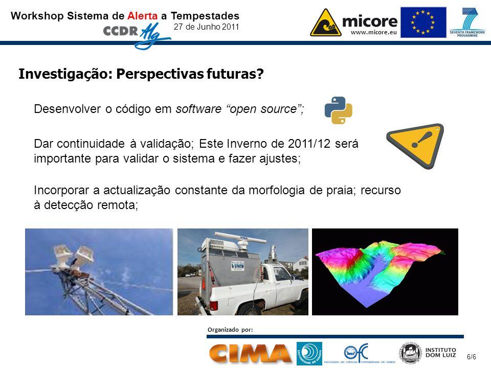 Workshop Sistema de Alerta a Tempestades 27 de Junho 2011 www.micore.eu Organizado por: 6/6 Investigação: Perspectivas futuras? Desenvolver o código e