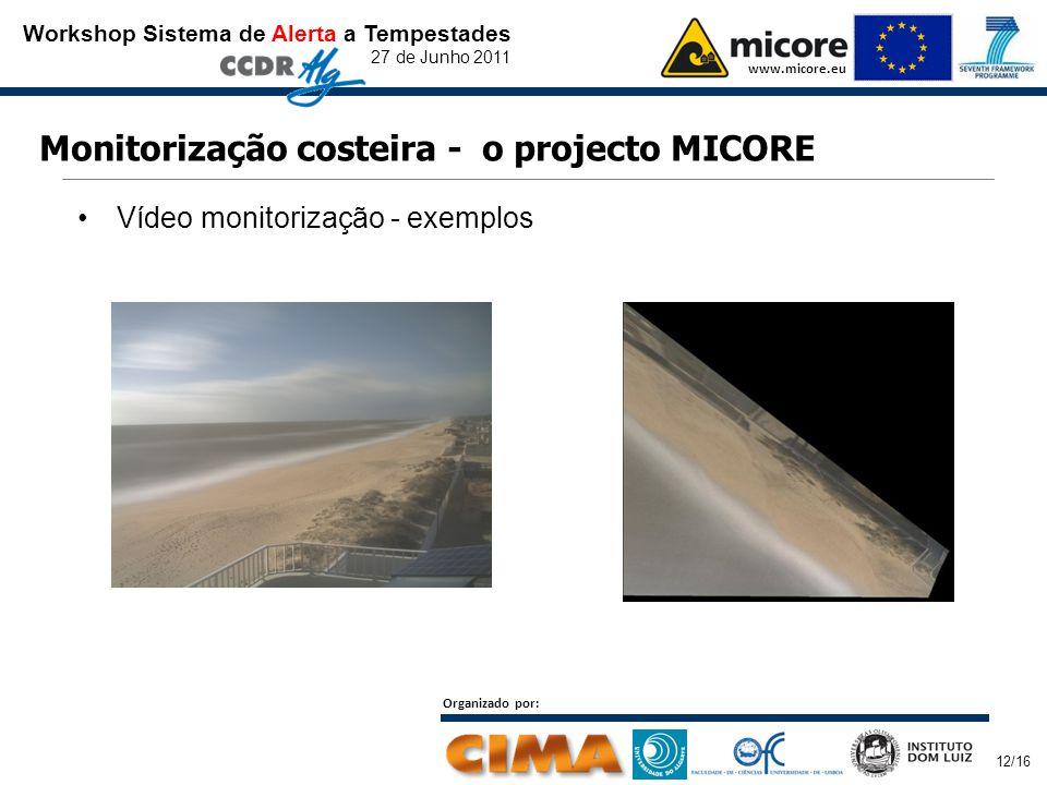 Workshop Sistema de Alerta a Tempestades 27 de Junho 2011 www.micore.eu Organizado por: 12/16 Monitorização costeira - o projecto MICORE Vídeo monitor