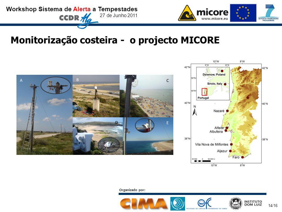 Workshop Sistema de Alerta a Tempestades 27 de Junho 2011 www.micore.eu Organizado por: 14/16 Monitorização costeira - o projecto MICORE