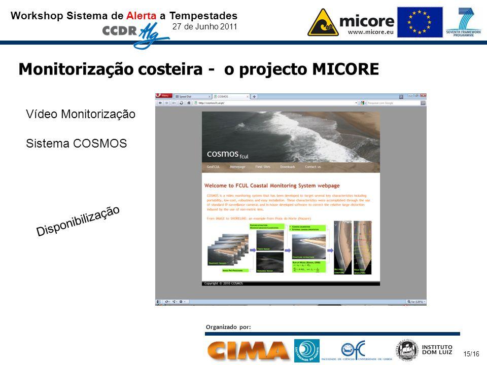 Workshop Sistema de Alerta a Tempestades 27 de Junho 2011 www.micore.eu Organizado por: 15/16 Monitorização costeira - o projecto MICORE Disponibilização Vídeo Monitorização Sistema COSMOS