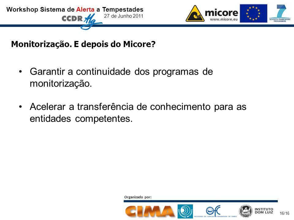 Workshop Sistema de Alerta a Tempestades 27 de Junho 2011 www.micore.eu Organizado por: 16/16 Monitorização. E depois do Micore? Garantir a continuida