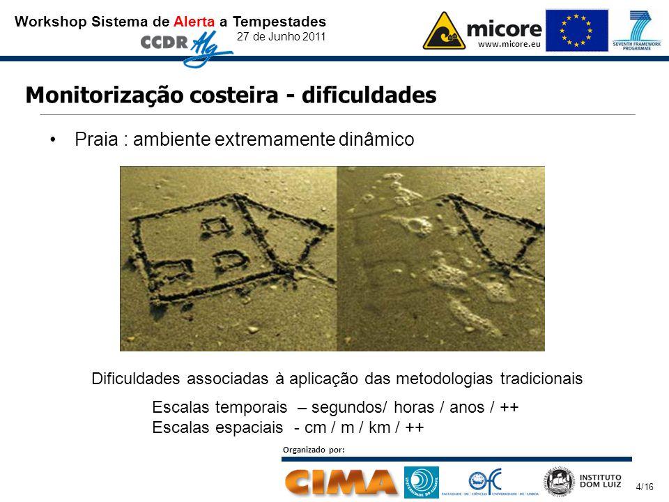 Workshop Sistema de Alerta a Tempestades 27 de Junho 2011 www.micore.eu Organizado por: 4/16 Monitorização costeira - dificuldades Praia : ambiente extremamente dinâmico Escalas temporais – segundos/ horas / anos / ++ Escalas espaciais - cm / m / km / ++ Dificuldades associadas à aplicação das metodologias tradicionais