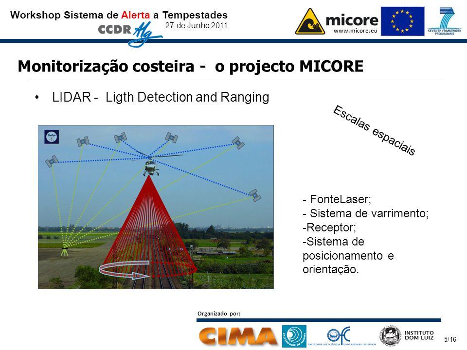 Workshop Sistema de Alerta a Tempestades 27 de Junho 2011 www.micore.eu Organizado por: 5/16 Monitorização costeira - o projecto MICORE LIDAR - Ligth Detection and Ranging Escalas espaciais - FonteLaser; - Sistema de varrimento; -Receptor; -Sistema de posicionamento e orientação.
