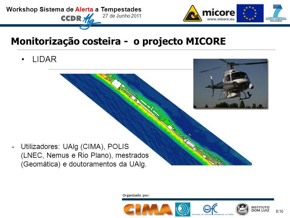 Workshop Sistema de Alerta a Tempestades 27 de Junho 2011 www.micore.eu Organizado por: 8/16 Monitorização costeira - o projecto MICORE LIDAR -Utilizadores: UAlg (CIMA), POLIS (LNEC, Nemus e Rio Plano), mestrados (Geomática) e doutoramentos da UAlg.