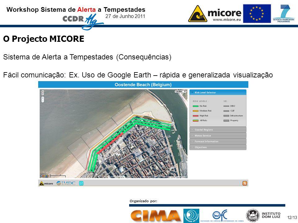 Workshop Sistema de Alerta a Tempestades 27 de Junho 2011 www.micore.eu O Projecto MICORE Sistema de Alerta a Tempestades (Consequências) Fácil comunicação: Ex.