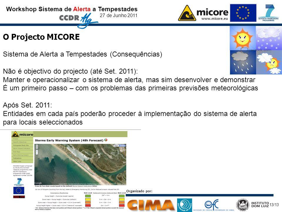 Workshop Sistema de Alerta a Tempestades 27 de Junho 2011 www.micore.eu O Projecto MICORE Sistema de Alerta a Tempestades (Consequências) Não é objectivo do projecto (até Set.