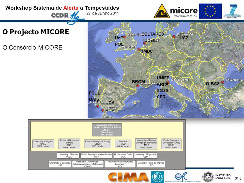 Organizado por: 3/13 Workshop Sistema de Alerta a Tempestades 27 de Junho 2011 www.micore.eu O Projecto MICORE O Consórcio MICORE UNIFE ARPA SGSS CFR