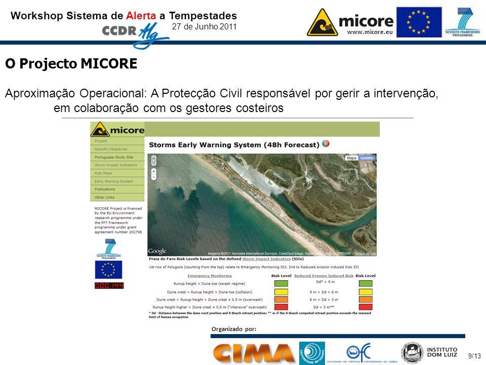 Organizado por: 9/13 Workshop Sistema de Alerta a Tempestades 27 de Junho 2011 www.micore.eu O Projecto MICORE Aproximação Operacional: A Protecção Civil responsável por gerir a intervenção, em colaboração com os gestores costeiros