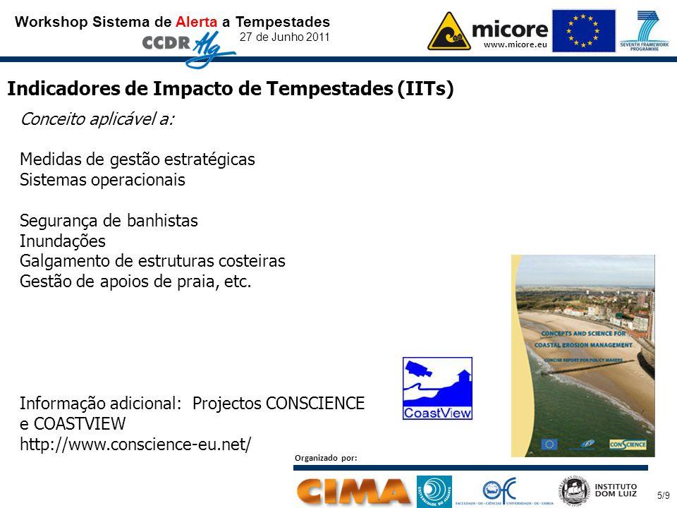 Workshop Sistema de Alerta a Tempestades 27 de Junho 2011 www.micore.eu Indicadores de Impacto de Tempestades (IITs) Conceito aplicável a: Medidas de gestão estratégicas Sistemas operacionais Segurança de banhistas Inundações Galgamento de estruturas costeiras Gestão de apoios de praia, etc.
