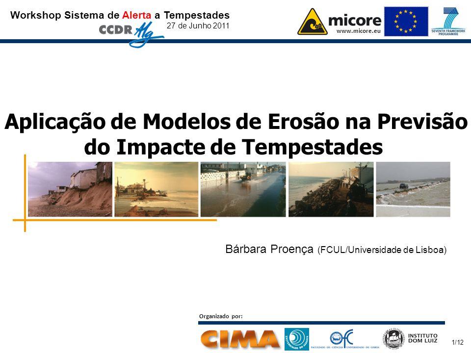 Workshop Sistema de Alerta a Tempestades 27 de Junho 2011 www.micore.eu Organizado por: 1/12 Aplicação de Modelos de Erosão na Previsão do Impacte de Tempestades Bárbara Proença (FCUL/Universidade de Lisboa)