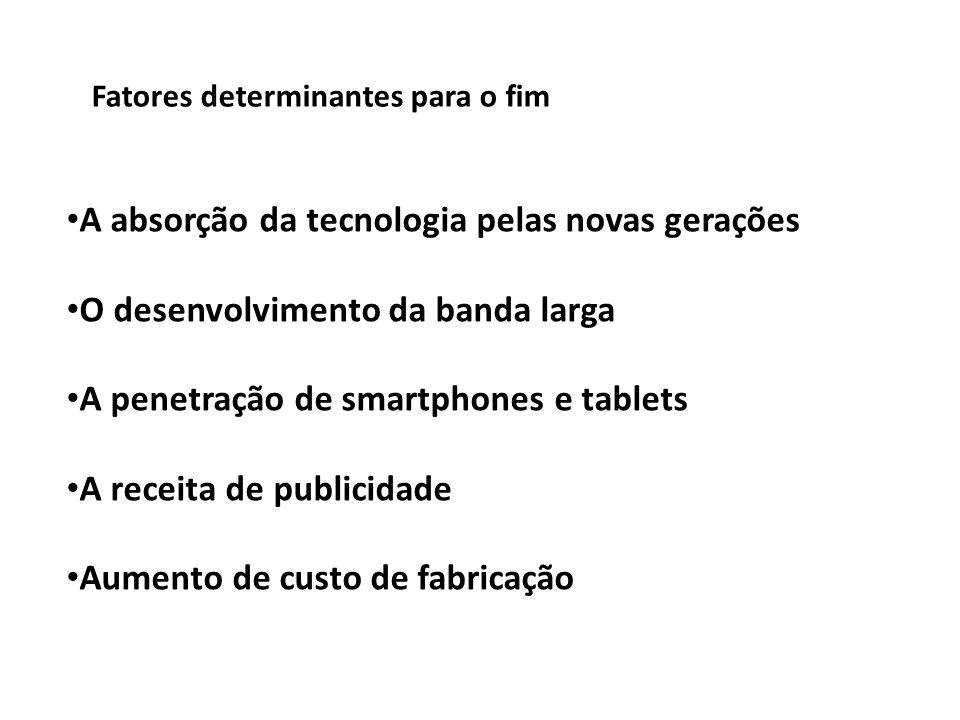 Fatores determinantes para o fim A absorção da tecnologia pelas novas gerações O desenvolvimento da banda larga A penetração de smartphones e tablets A receita de publicidade Aumento de custo de fabricação
