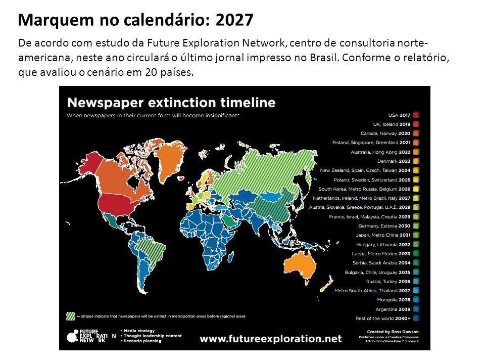 Marquem no calendário: 2027 De acordo com estudo da Future Exploration Network, centro de consultoria norte- americana, neste ano circulará o último jornal impresso no Brasil.