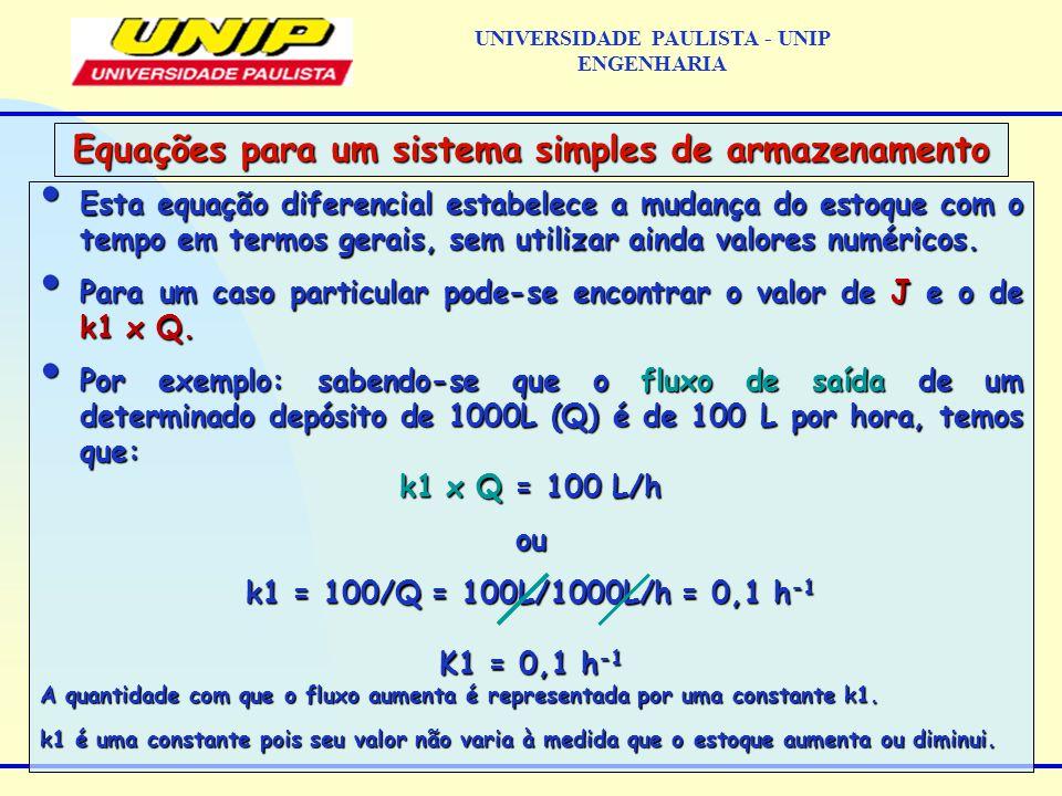 Esta equação diferencial estabelece a mudança do estoque com o tempo em termos gerais, sem utilizar ainda valores numéricos.