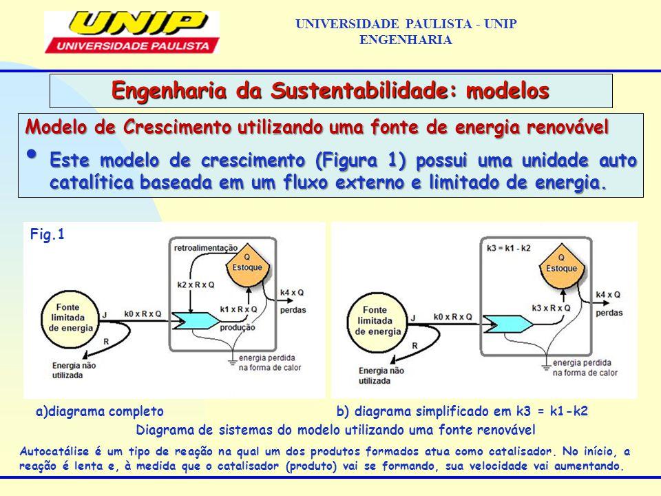 Modelo de Crescimento utilizando uma fonte de energia renovável Este modelo de crescimento (Figura 1) possui uma unidade auto catalítica baseada em um fluxo externo e limitado de energia.