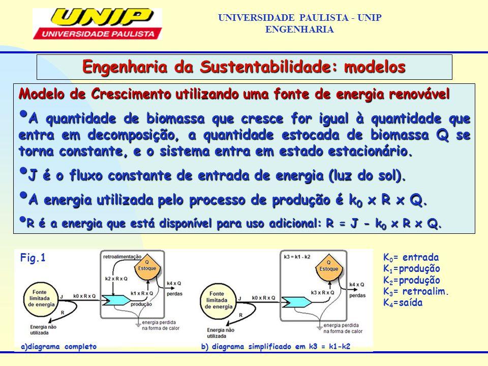 Modelo de Crescimento utilizando uma fonte de energia renovável A quantidade de biomassa que cresce for igual à quantidade que entra em decomposição, a quantidade estocada de biomassa Q se torna constante, e o sistema entra em estado estacionário.