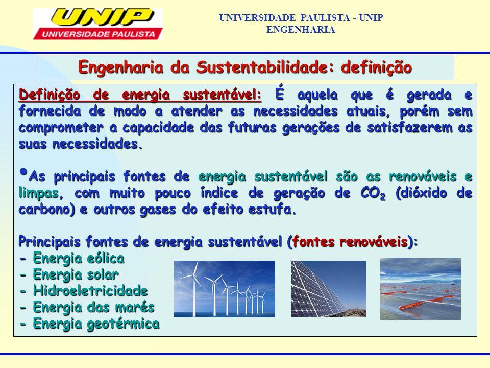 Definição de energia sustentável: É aquela que é gerada e fornecida de modo a atender as necessidades atuais, porém sem comprometer a capacidade das futuras gerações de satisfazerem as suas necessidades.