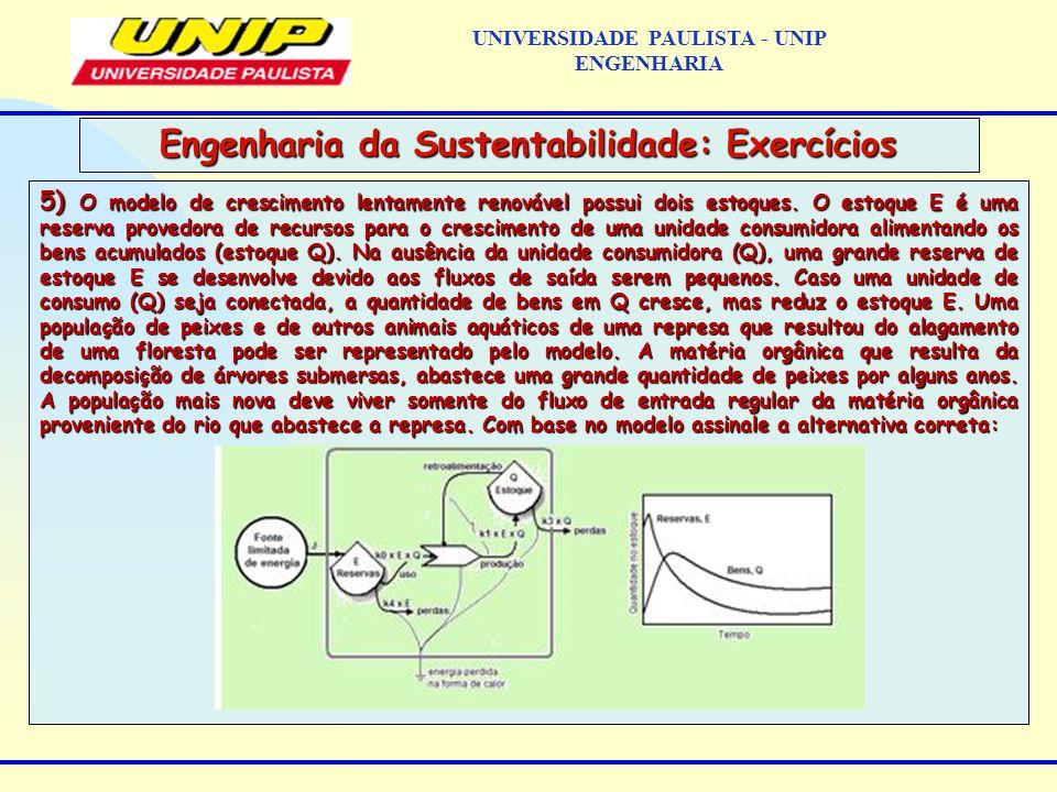 5) O modelo de crescimento lentamente renovável possui dois estoques.