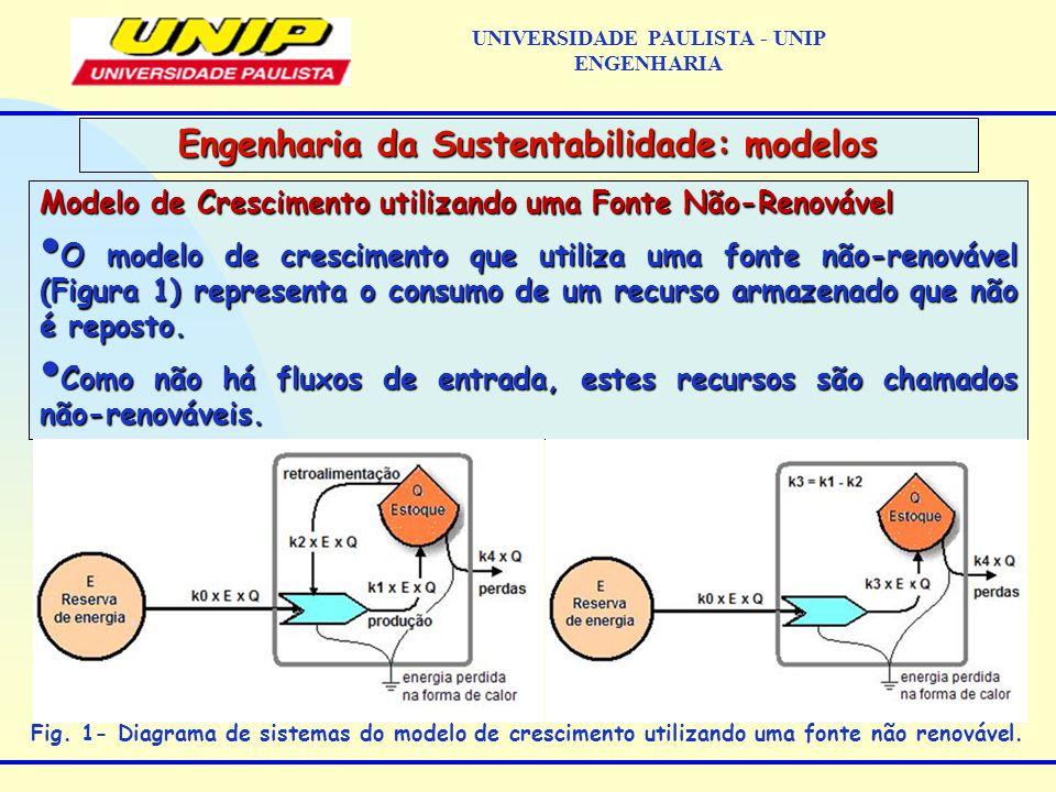 Modelo de Crescimento utilizando uma Fonte Não-Renovável O modelo de crescimento que utiliza uma fonte não-renovável (Figura 1) representa o consumo de um recurso armazenado que não é reposto.