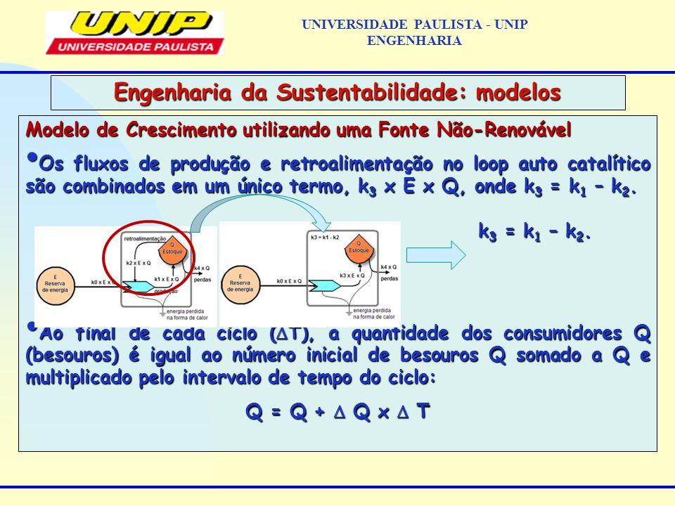 Modelo de Crescimento utilizando uma Fonte Não-Renovável Os fluxos de produção e retroalimentação no loop auto catalítico são combinados em um único termo, k 3 x E x Q, onde k 3 = k 1 – k 2.