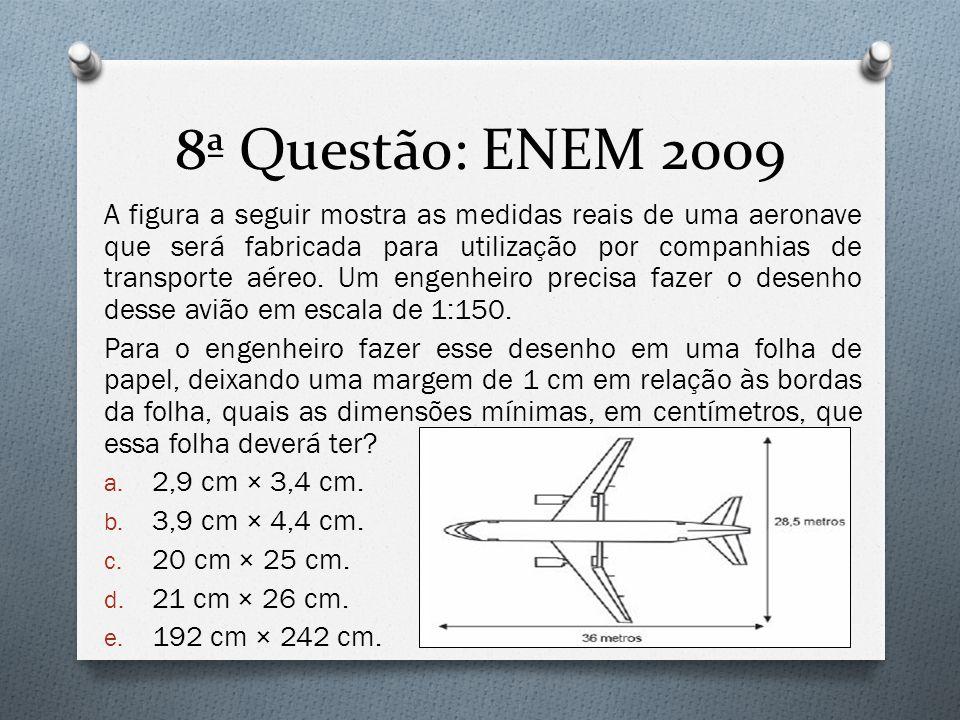 8ª Questão: ENEM 2009 A figura a seguir mostra as medidas reais de uma aeronave que será fabricada para utilização por companhias de transporte aéreo.