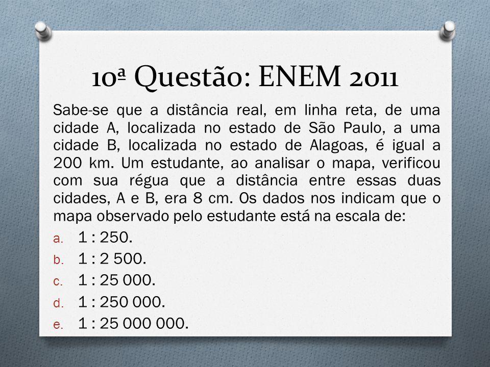 10ª Questão: ENEM 2011 Sabe-se que a distância real, em linha reta, de uma cidade A, localizada no estado de São Paulo, a uma cidade B, localizada no