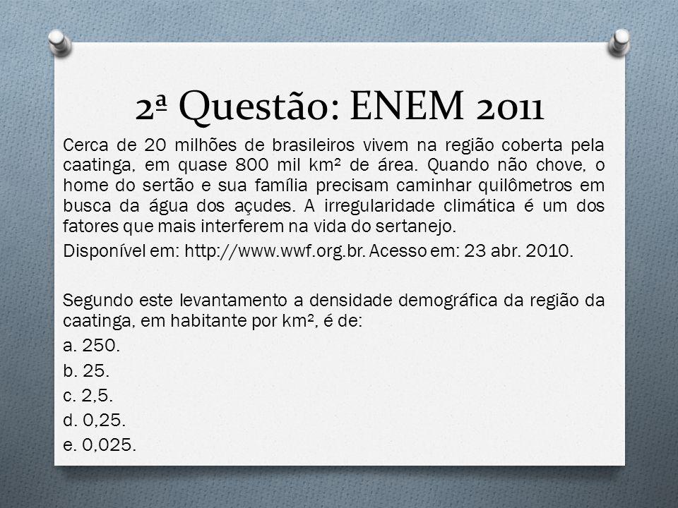 2ª Questão: ENEM 2011 Cerca de 20 milhões de brasileiros vivem na região coberta pela caatinga, em quase 800 mil km² de área. Quando não chove, o home