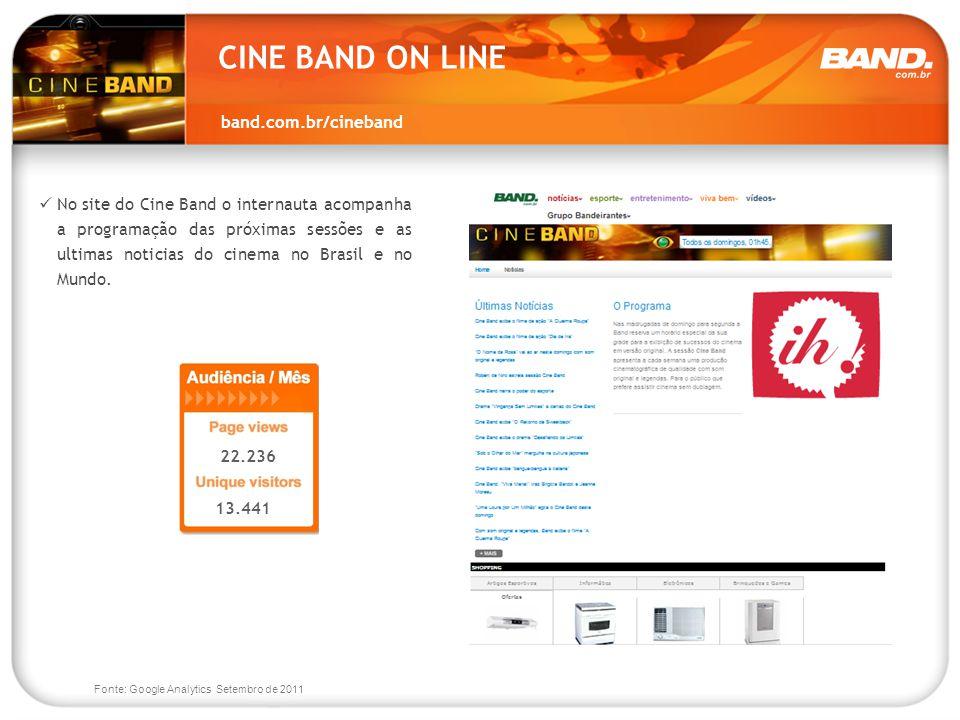 band.com.br/cineband 22.236 13.441 No site do Cine Band o internauta acompanha a programação das próximas sessões e as ultimas noticias do cinema no B