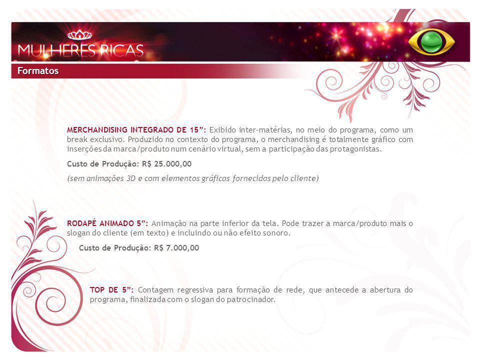 Formatos MERCHANDISING INTEGRADO DE 15 : Exibido inter-matérias, no meio do programa, como um break exclusivo.