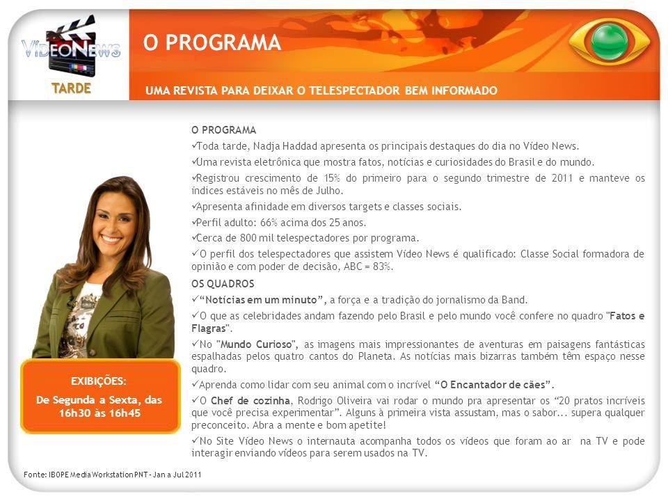 TARDE UMA REVISTA PARA DEIXAR O TELESPECTADOR BEM INFORMADO O PROGRAMA Toda tarde, Nadja Haddad apresenta os principais destaques do dia no Vídeo News