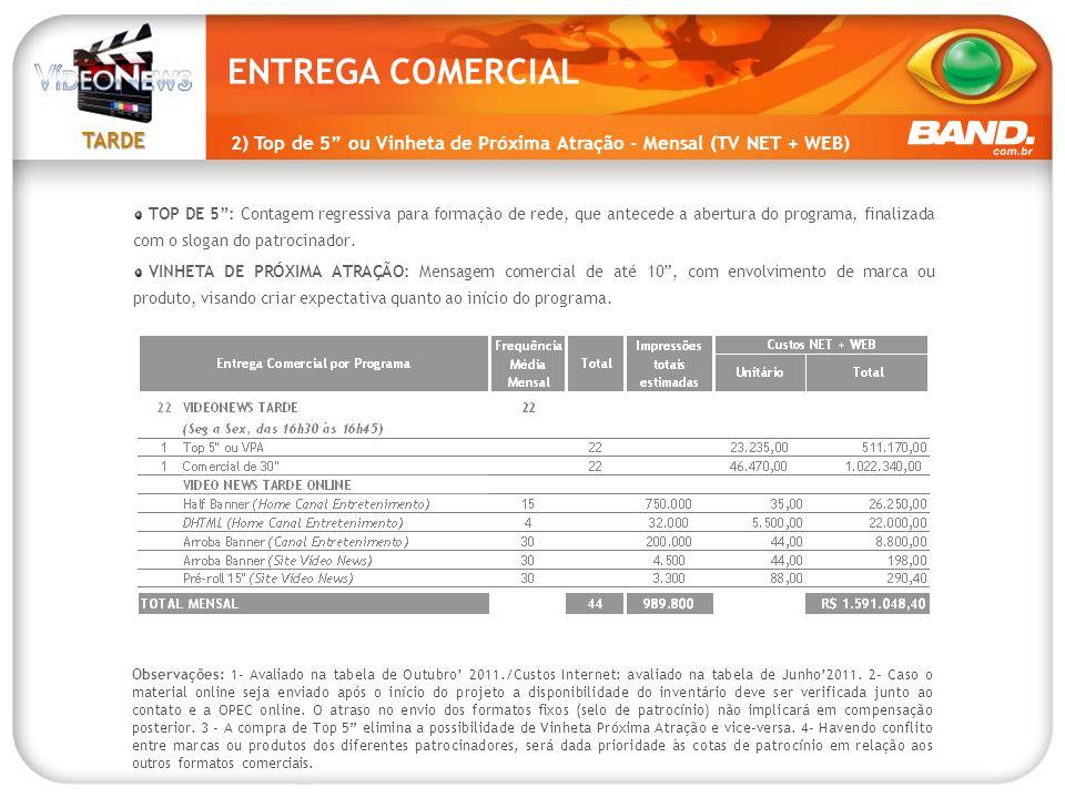 """TARDE 2) Top de 5"""" ou Vinheta de Próxima Atração - Mensal (TV NET + WEB) TOP DE 5"""": Contagem regressiva para formação de rede, que antecede a abertura"""