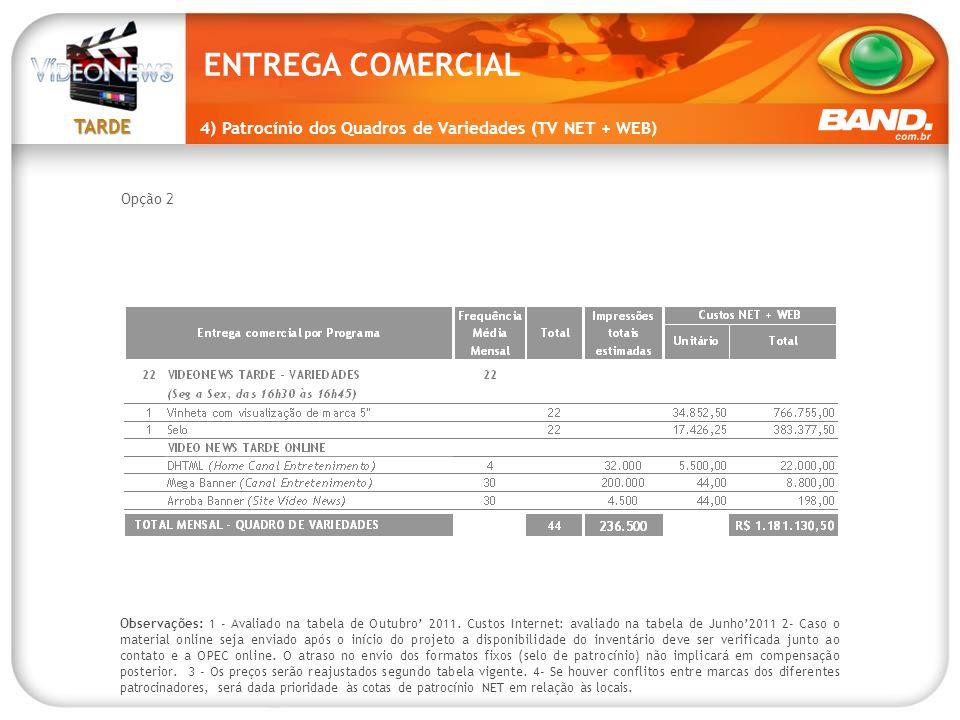 TARDE Observações: 1 - Avaliado na tabela de Outubro' 2011. Custos Internet: avaliado na tabela de Junho'2011 2- Caso o material online seja enviado a