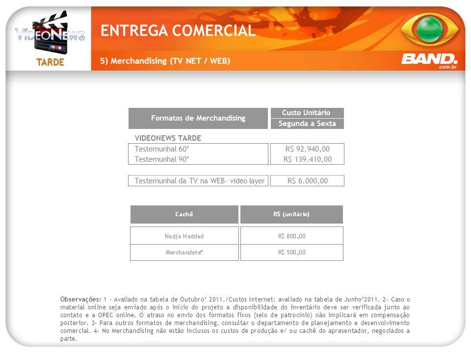 TARDE Observações: 1 - Avaliado na tabela de Outubro' 2011./Custos Internet: avaliado na tabela de Junho'2011. 2- Caso o material online seja enviado