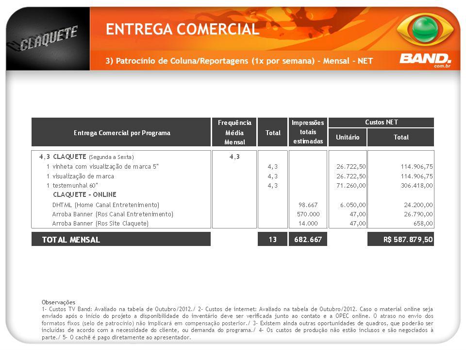 ENTREGA COMERCIAL 3) Patrocínio de Coluna/Reportagens (1x por semana) - Mensal - NET Observações 1- Custos TV Band: Avaliado na tabela de Outubro/2012