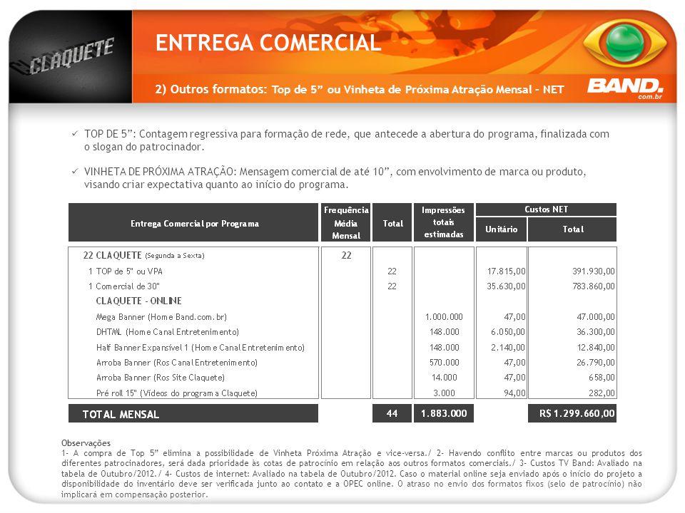 """ENTREGA COMERCIAL 2) Outros formatos: Top de 5"""" ou Vinheta de Próxima Atração Mensal - NET 20.000 page views /mês 12.000 unique visitors / mês Observa"""