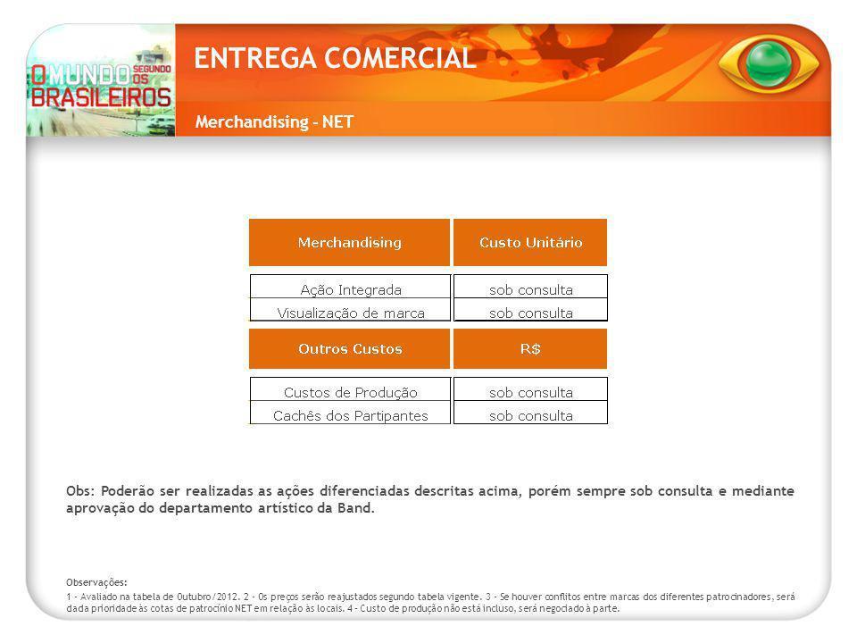 Merchandising - NET ENTREGA COMERCIAL Observações: 1 - Avaliado na tabela de Outubro/2012.