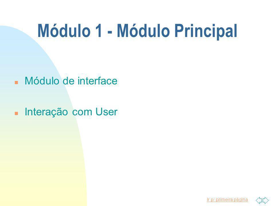Ir p/ primeira página Módulo 1 - Módulo Principal n Módulo de interface n Interação com User