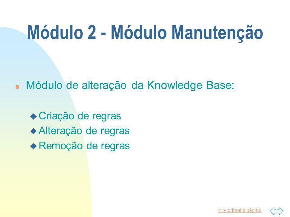 Ir p/ primeira página Módulo 2 - Módulo Manutenção n Módulo de alteração da Knowledge Base: u Criação de regras u Alteração de regras u Remoção de regras
