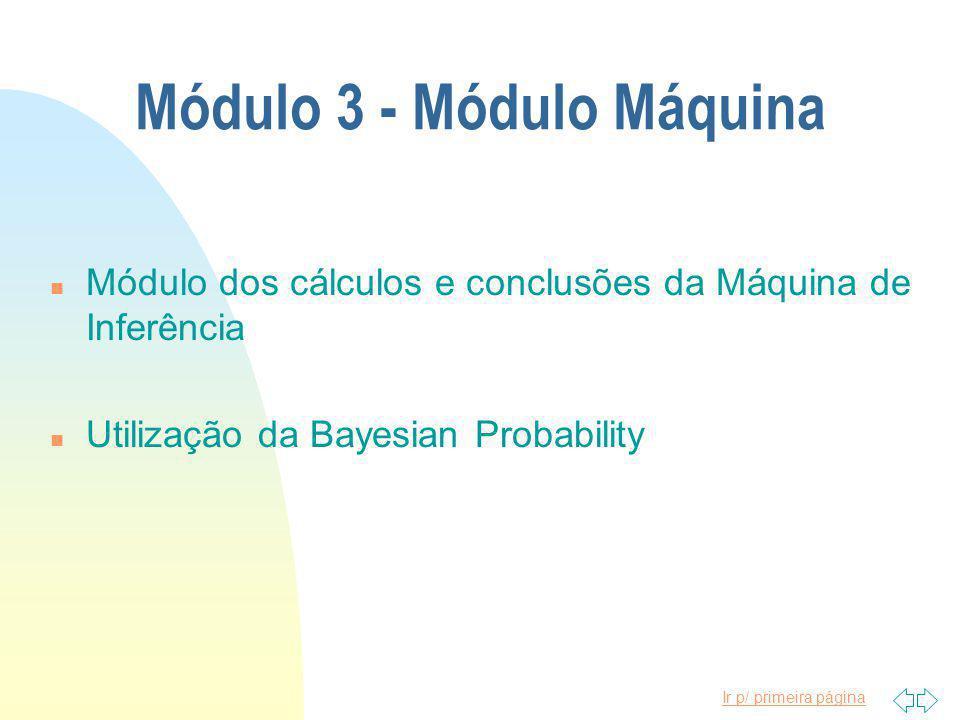 Ir p/ primeira página Módulo 3 - Módulo Máquina n Módulo dos cálculos e conclusões da Máquina de Inferência n Utilização da Bayesian Probability